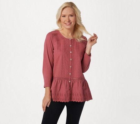 LOGO Lavish by Lori Goldstein Button-Front Top with Knit Sleeves