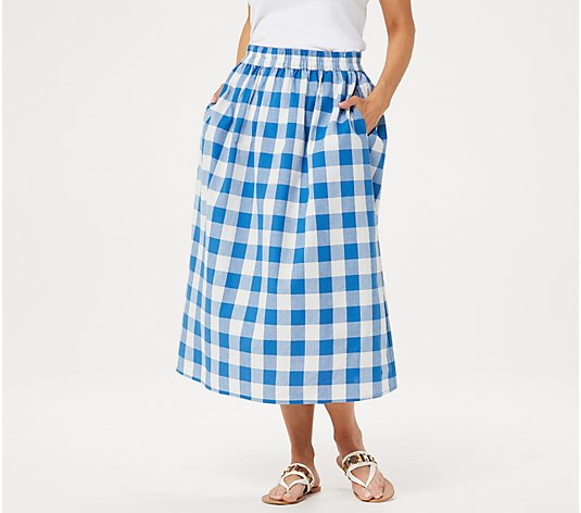 Joan Rivers Regular Buffalo Check Midi Skirt
