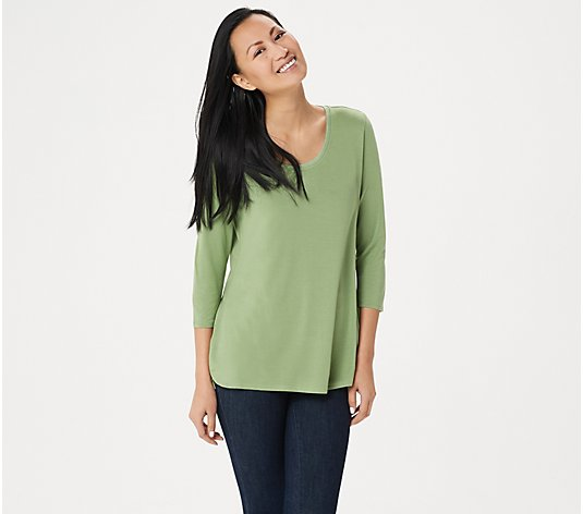H by Halston Essentials 3/4-Sleeve Top with Shirttail Hem