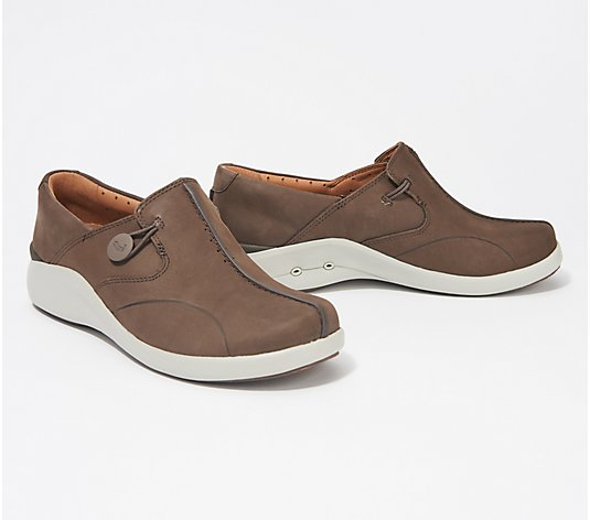 Clarks Unstructured Leather Slip-On Shoes - Un Loop 2 Walk