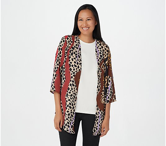 """As Is"" Bob Mackie Cheetah Stripe Woven Cardigan"