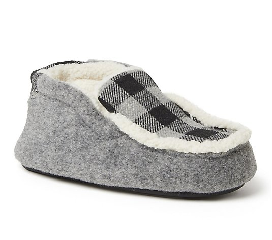 Dearfoams Kids Felted Microwool and Plaid Bootie Slippers