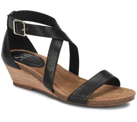 Sofft Leather Wedge Sandals - Valeryn