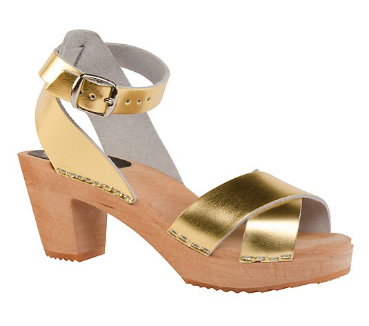 Cape Clogs Leather Strapy Sandals - Greta Gold