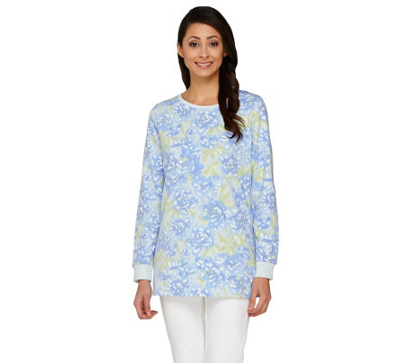 Denim & Co. Active French Terry Floral Printed Sweatshirt
