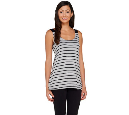 LOGO by Lori Goldstein Striped Scoop Neck Tank with Solid Straps