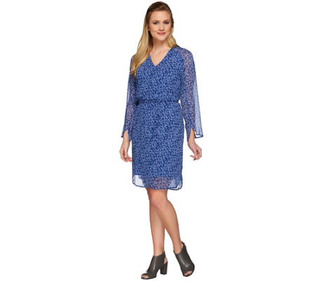 H by Halston Printed V-neck Long Sleeve Woven Dress with Tie Belt