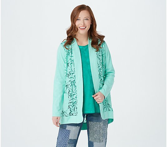LOGO by Lori Goldstein Open Front Slub Cardigan w/ Lace Detail