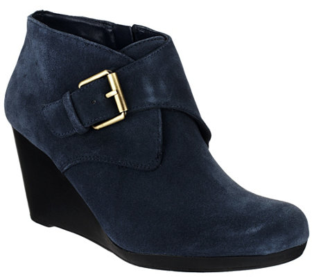 """As Is"" Isaac Mizrahi Live! Suede Ankle Boots with Buckle"