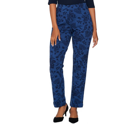 Susan Graver Weekend Printed French Terry Comfort Waist Pants