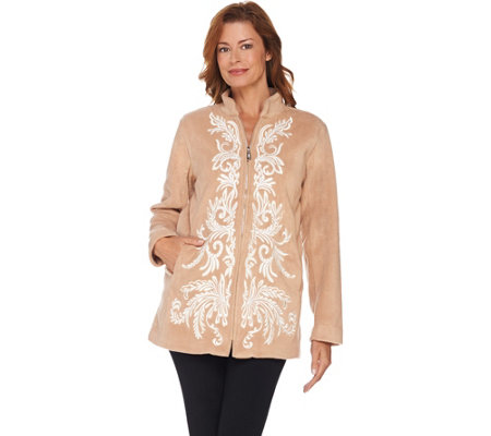 Bob Mackie's Embroidered Zip Front Fleece Jacket