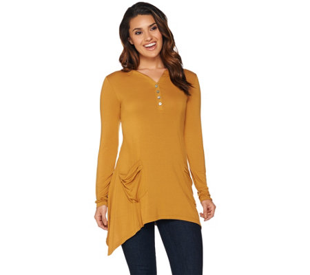 LOGO by Lori Goldstein Solid Henley Top with Patch Pockets