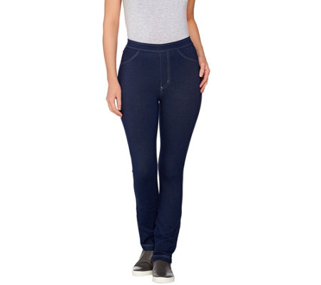 """As Is"" Susan Graver Weekend Knit Jeggings with Contrast Stitching"