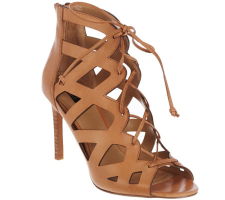 """As Is"" G.I.L.I Suede Lace-up Cut-Out Heel Sandals - Colvynn"