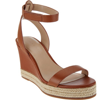 """As Is"" H by Halston Leather Espadrille Wedges - Gene"