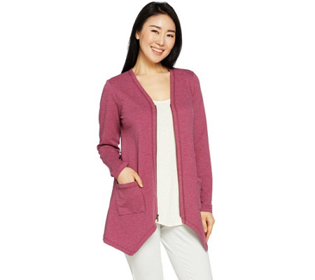 LOGO Lounge by Lori Goldstein Zip Front Jacket with Patch Pockets
