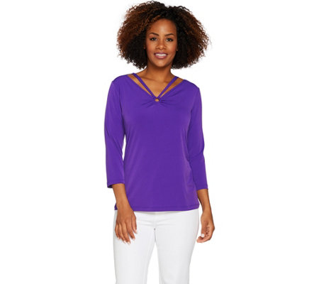 Susan Graver Liquid Knit Top with Ring Detail
