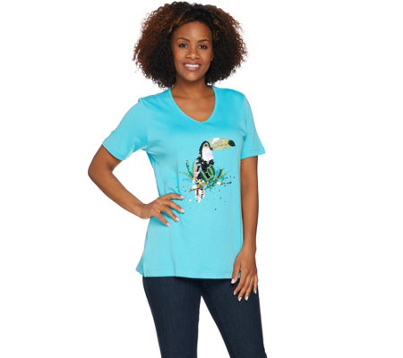 Quacker Factory Tropical Fun Sequin Short Sleeve Knit T-shirt