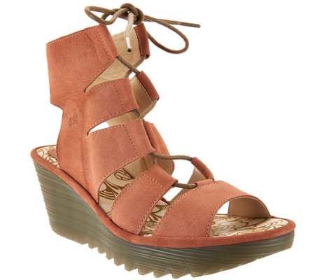 FLY London Leather Ghillie Lace-up Wedges - Yoll