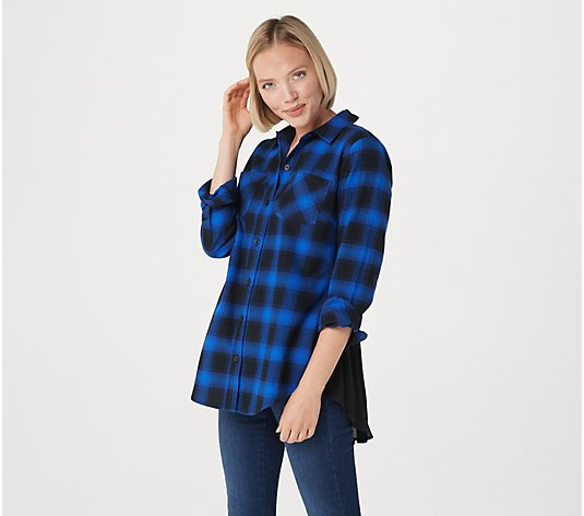 Belle by Kim Gravel Ombre Plaid Woven Shirt