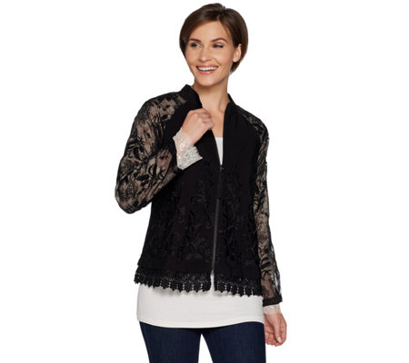 LOGO Lavish by Lori Goldstein Embroidered Jacket w/ Lace & Crochet Trim
