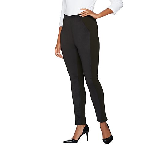 """As Is"" Kelly by Clinton Kelly Reg Pull- On Ponte Pants with Faux Suede"