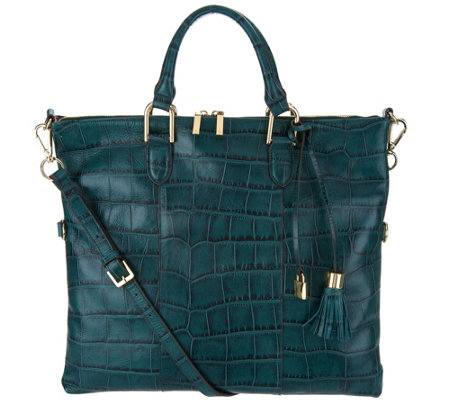 G.I.L.I. Croco Embossed Italian Leather Convertible Satchel