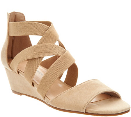 """As Is"" Isaac Mizrahi Live! Stretch Cross Band Wedge Sandal"