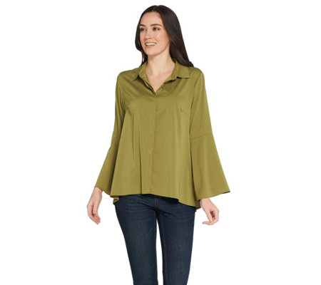 Joan Rivers Tulip Sleeve Button Front Blouse