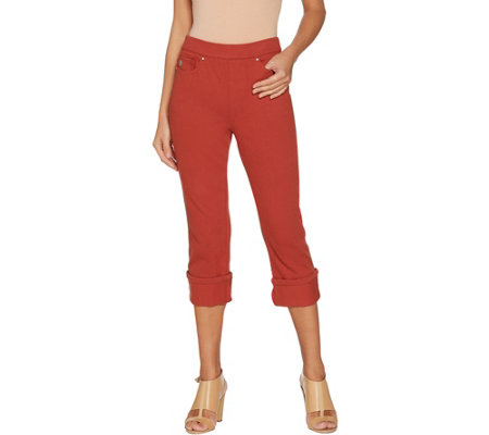 Belle by Kim Gravel Flexibelle Pull-On Cuffed Capri Jeans