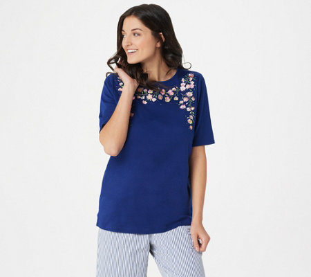 Quacker Factory Apple Blossom Embroidered Elbow Sleeve Knit T-shirt
