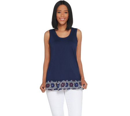 Kelly by Clinton Kelly Sleeveless Top w/ Printed Hem