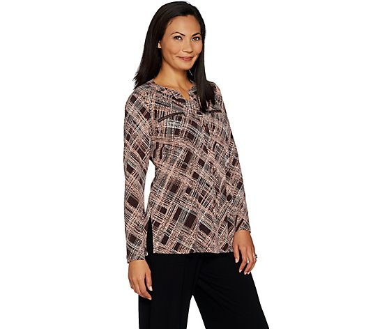 """As Is"" Susan Graver Printed Liquid Knit Shirt with Zipper Pockets"