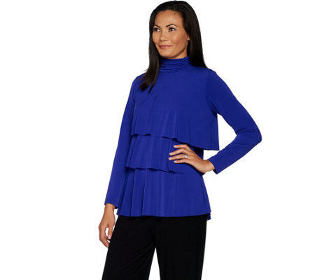 """As Is"" Every Day by Susan Graver Liquid Knit Mock Neck Tiered Top"