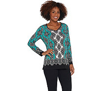 Susan Graver Printed Liquid Knit Long-Sleeve Tunic - A310095