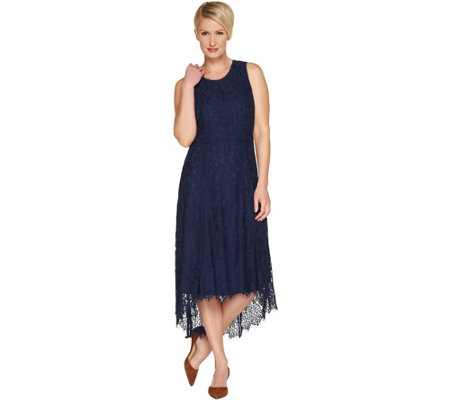 As Is Isaac Mizrahi Live Regular Hi Low Lace Maxi Dress