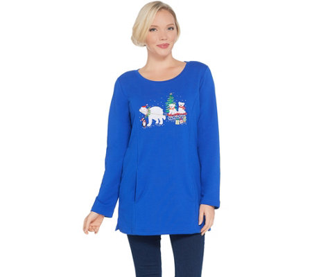 Quacker Factory Holiday French Terry Tunic with Pockets