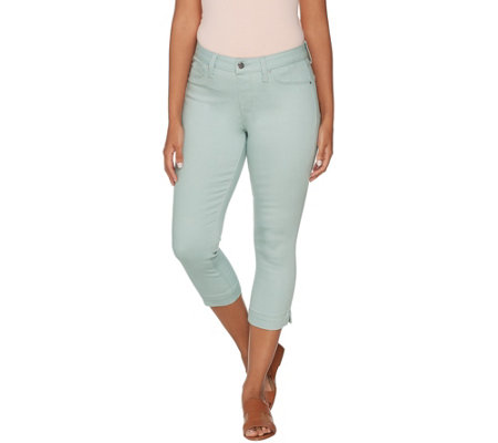 """As Is"" Laurie Felt Power Silky Denim Pull On Capri Jeans"