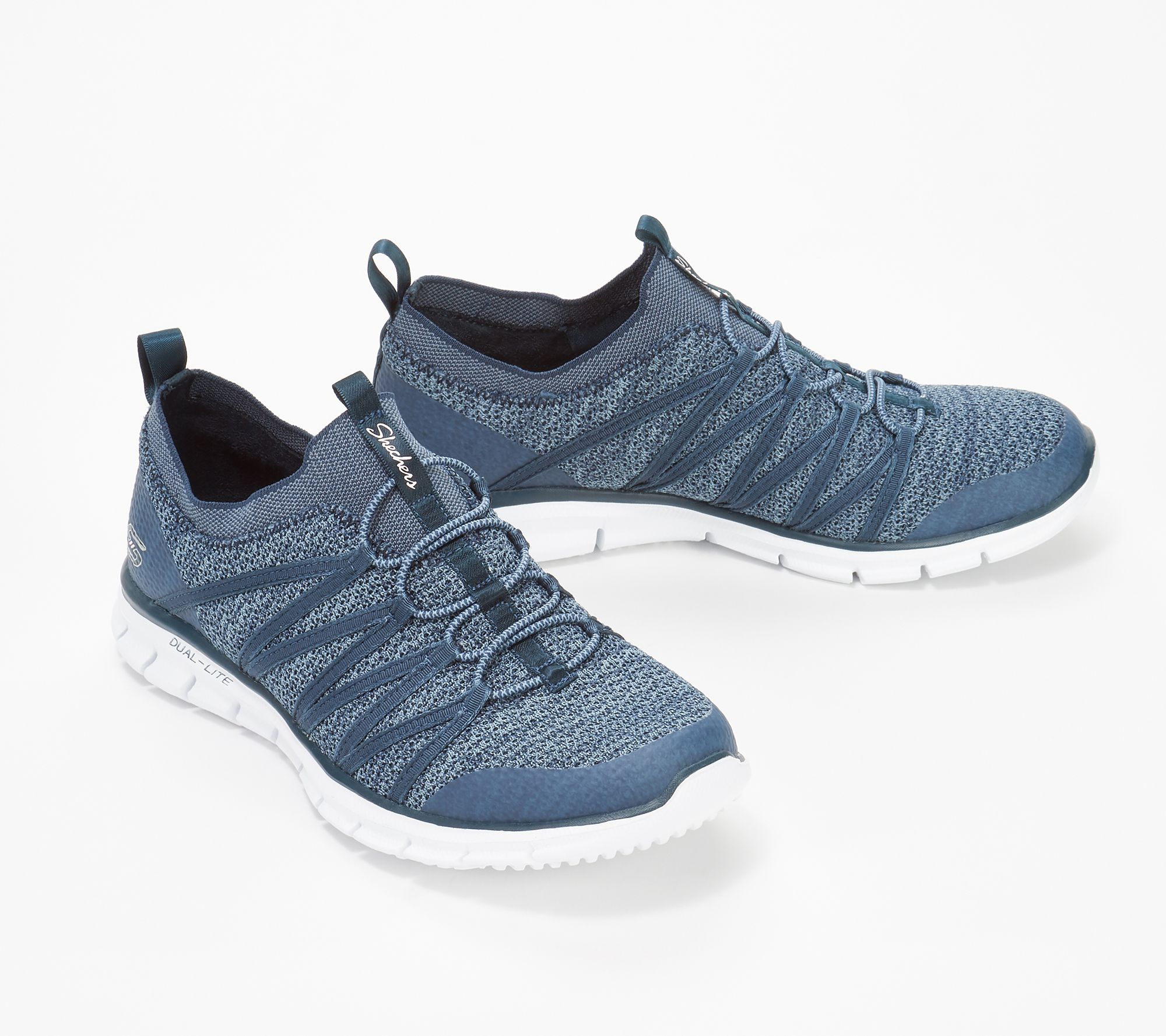 Skechers Stretch Knit Bungee Slip On Sneakers Glider Tuneful Qvc Com