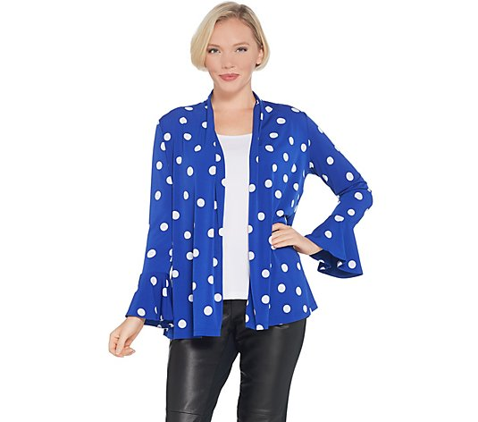 Susan Graver Printed Liquid Knit Cardigan with Flounce Cuffs