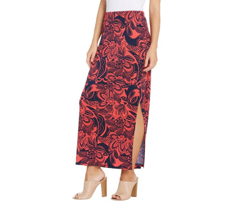 """As Is"" Susan Graver Regular Printed Liquid Knit Maxi Skirt"