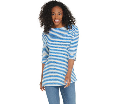 """As Is"" Denim & Co. Active Striped Terry Boat Neck 3/4 Sleeve Tunic"