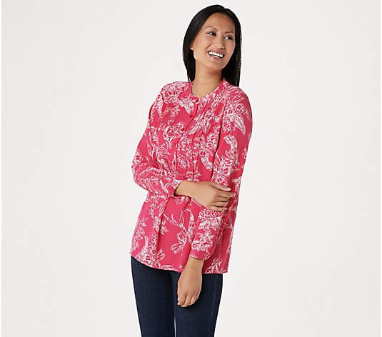 Joan Rivers Floral Print Blouse with Pintuck Detail
