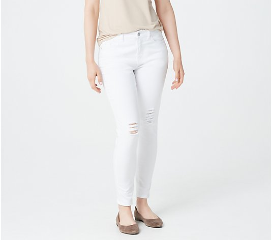 Lisa Rinna Collection Distressed White Jeans