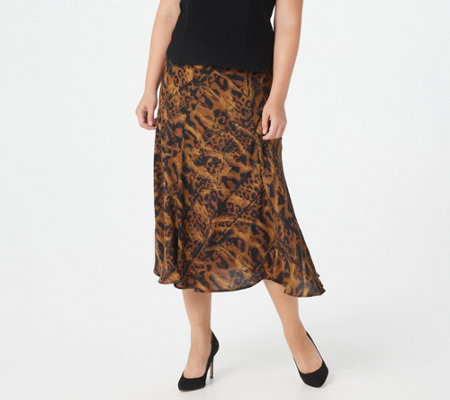 release date best super cheap Bob Mackie Painterly Leopard Print Pull-On Maxi Skirt — QVC.com