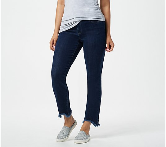 LOGO by Lori Goldstein Straight Leg Jean with Curved Fray Hem
