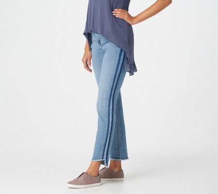 LOGO by Lori Goldstein Straight-Leg Ankle Jean with Fray and Stripe