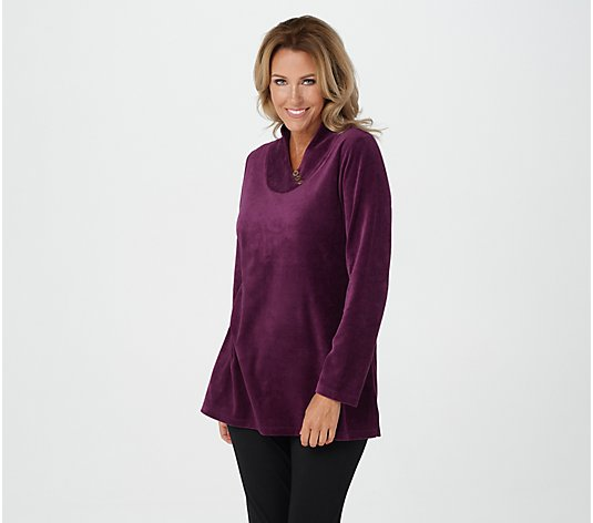 Denim & Co. Active Petite Velour Tunic with Crossover Button Neckline