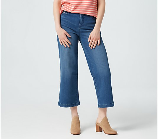 Isaac Mizrahi Live! Regular True Denim Wide Leg Cropped Jeans - Indigo