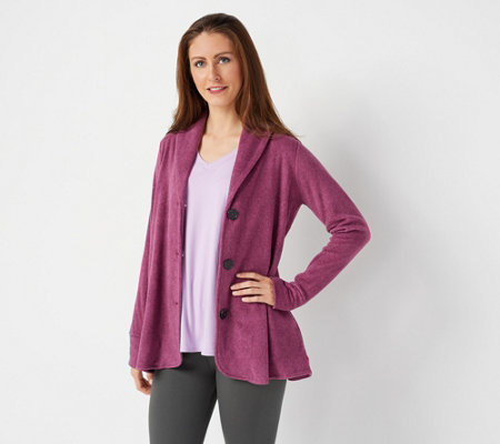 """As Is"" Cuddl Duds Fleecewear Stretch Button Front Blazer Cardi"